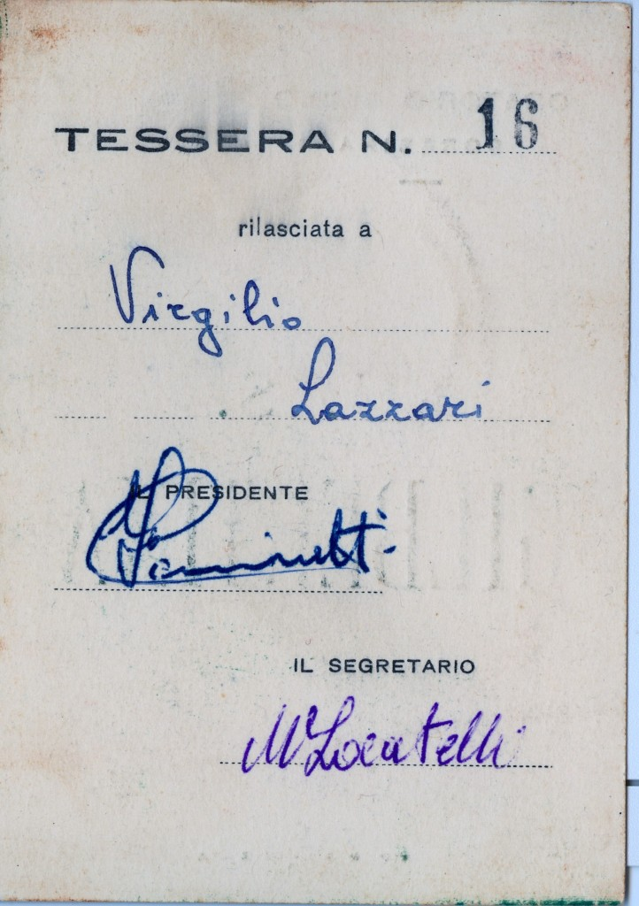Tessera Virgilio Lazzari (retro)